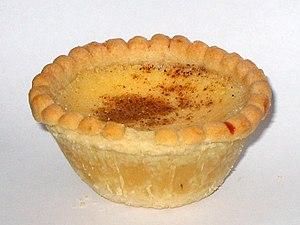 Individual egg custard tart from Nash's Bakery...