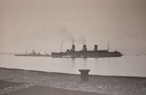 RMS Empress of Britain arriving at Greenock wi...