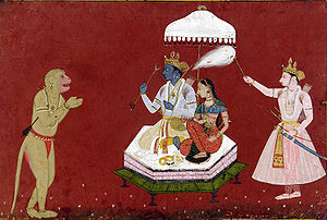 A 17 th century painting depicting Hanuman wor...