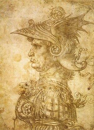 Profile of a warrior in helmet