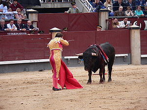 A matador in full dress in Plaza de Toros Las ...