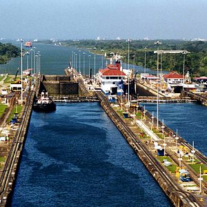 Photo of Panama Canal Gatun Locks.