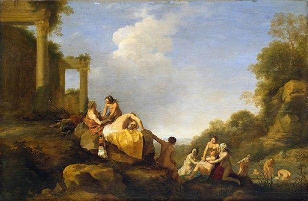 """Landscape with Diana and Callisto"" by Cornelis van Pulenburg - State Hermitage Museum"