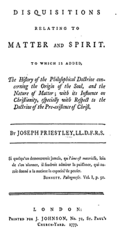 "Page reads: ""Disquisitions relating to Matter and Spirit. To which is added, The History of the Philosophical Doctrine concerning the Origin of the Soul, and the Nature of Matter; with its Influence on Christianity, especially with Respect to the Doctrine of the Pre-existence of Christ."""