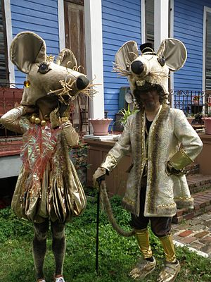 Mouse costumers, Mardi Gras morning in New Orleans