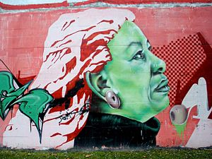 English: Graffiti de Toni Morrison en el front...