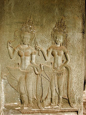 English: Finely carved reliefs at the Angkor W...