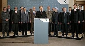 Tony Blair respondiendo a los ataques terroristas ante los l�deres del G8.