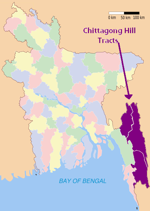 CHTs locator map in purple in Bangladesh