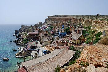 English: Popeye Village in Anchor Bay, Malta, ...