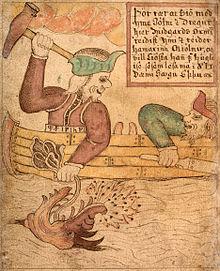 Thor et le jötunn Hymir combattant le monstre Jörmungand