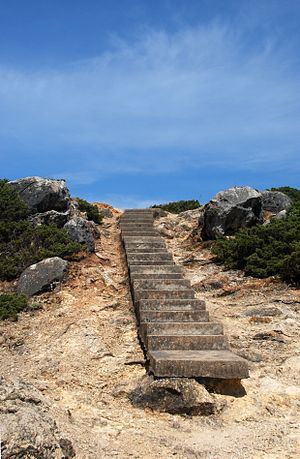 English: Stairway near the lighthouse. São Mar...