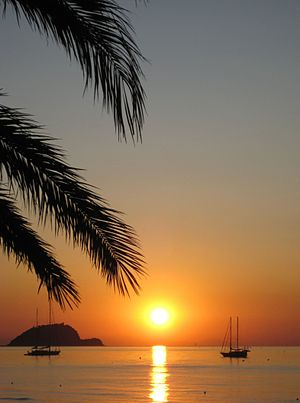 English: Sunrise over the sea in front of Alas...