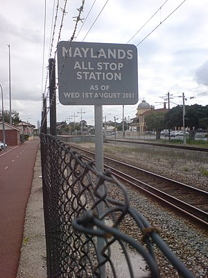 The all stop station sign at Maylands Train St...