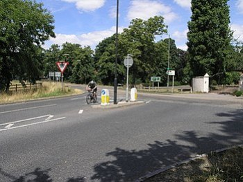 English: Wrong Way. This is a busy junction of...
