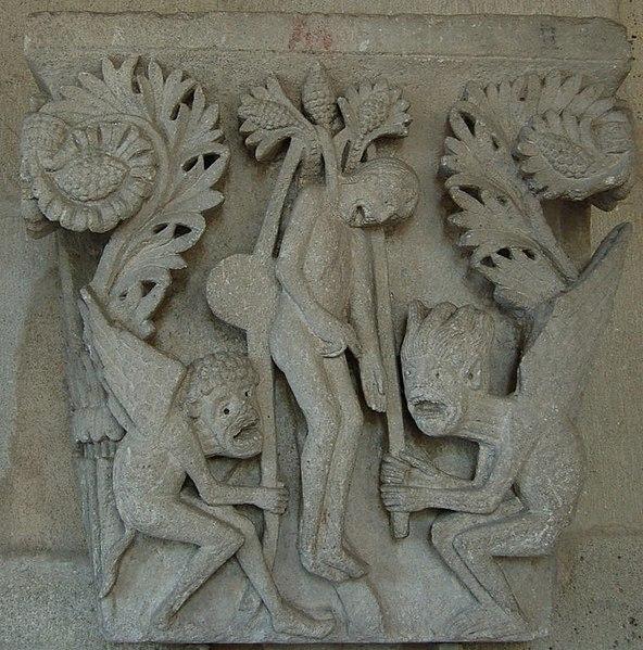 File:Autun Cathedrale Chapiteau pendaison de Judas.jpg