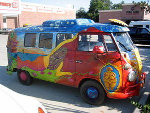 A 1967 VW Kombi bus decorated with hand-painting