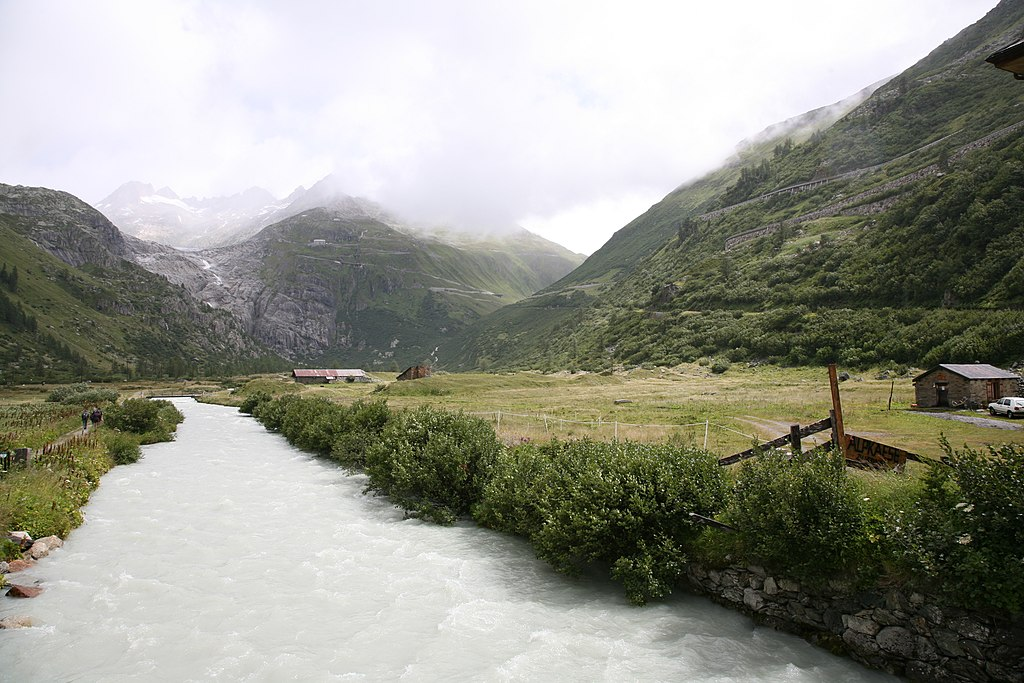 Upper reaches of the Rhone river, Rhone glacie...