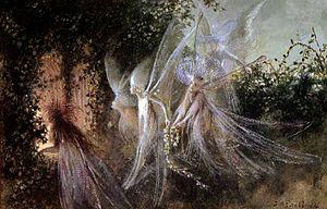 "English: Title: ""Fairies Looking Through ..."