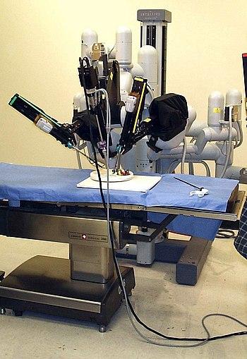 A laparoscopic robotic surgery machine. Patien...