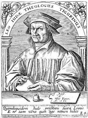 Deutsch: Kupferstich Leo Jud (1482-1542); Schw...
