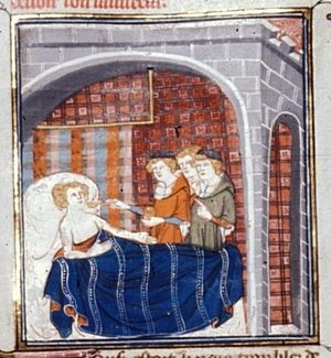 English: Miniature of the sick-bed of Louis le...