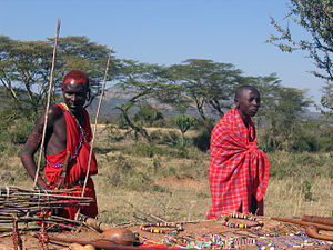 Two Maasai men at a Maasai village in Kenya.