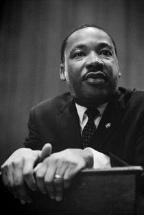 Dr. Martin Luther King at a press conference.