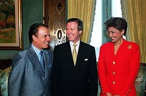 Argentina's President Carlos Saúl Menem (left)...