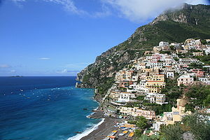 Looking back to Positano, Amalfi Coast, Italy.