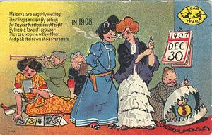 English: Postcard: Leap year, 1908 Description...