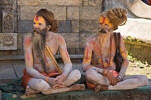 Two Sadhus, or Hindu Holy Men, near Pashupatin...
