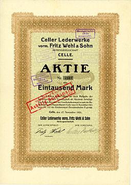 1921-11-17 Aktie der Celler Lederwerke, vormals Fritz Wehl & Sohn Aktiengesellschaft Celle, später umgestempelt auf 80 RM, Druck vermutlich König & Ebhardt, Hannover