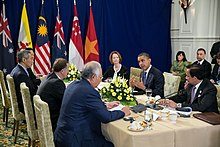 Barack Obama attends the Trans-Pacific Partnership (TPP) meeting at ASEAN Summit 2012