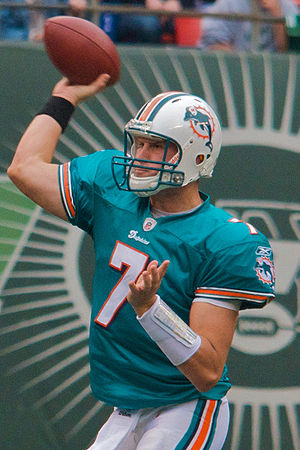 Chad Henne of the Miami Dolphins against the N...