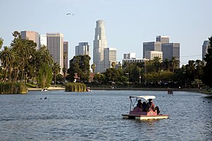 English: Echo Park looking southeast toward do...