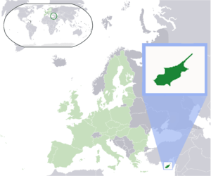 Location map: Cyprus (dark green) / European U...