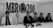 MBR-200 members meeting in 1997. Maduro is on the far left and Chávez is in the center.