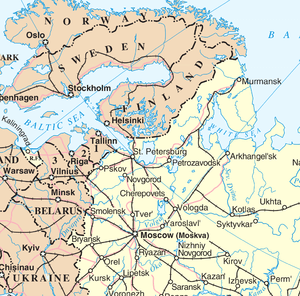 Map showing St. Petersburg, Russia