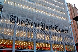 The New York Times building in New York, NY ac...