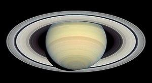 The dark Cassini Division separates the wide i...