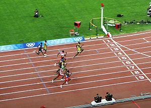 Usain Bolt winning the 100 m final 2008 Olympics