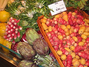 Vegetables in a grocery store, Paris, France.