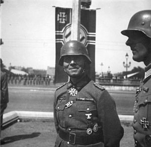 Erwin Rommel at a Paris victory parade (June 1940)