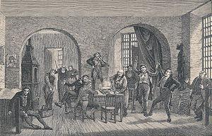 English: Scene from the debtors prison in Cope...