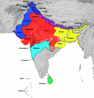 Regional languages of India by geographical location on the map