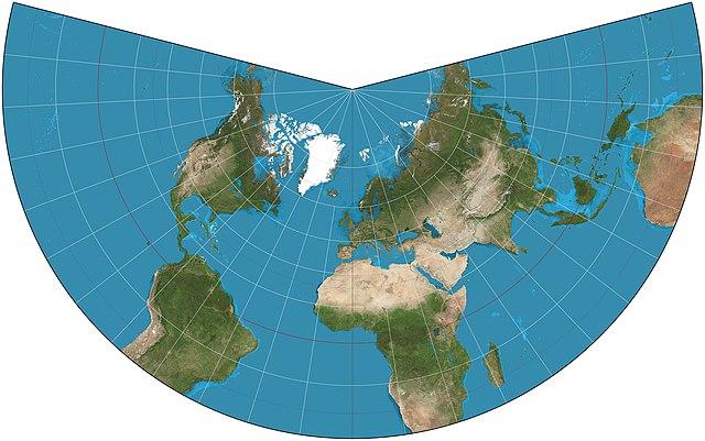 Resultado de imagen de proyecciones mapamundi conica