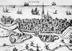 Malmö in 1580 in a German map book. The citade...