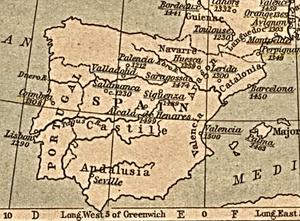 Mapa de fundación de Universidades castellanas y aragonesas