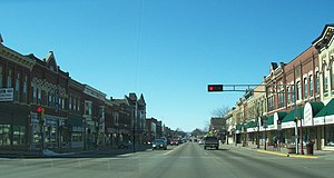 Looking at downtown Reedsburg, Wisconsin, USA ...